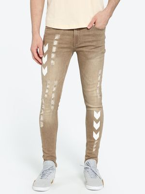 IMPACKT Track Print Washed & Distressed Skinny Jeans