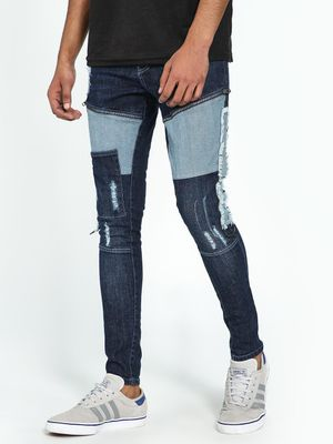 Kultprit Dark Wash Distressed Patch Skinny Jeans