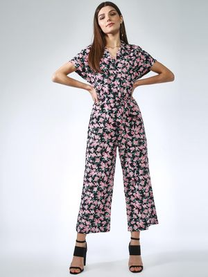 Oxolloxo Cropped Floral Print Jumpsuit