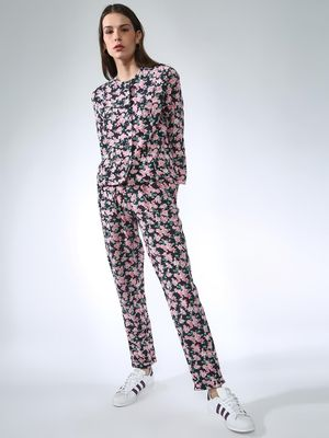 Oxolloxo Floral Print Regular Fit Trousers