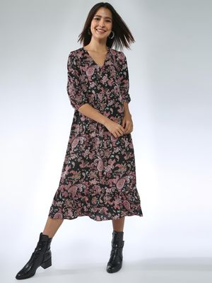 Oxolloxo Paisley Print Midi Dress