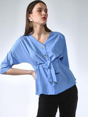 Oxolloxo Button Down Waist-Tie Top
