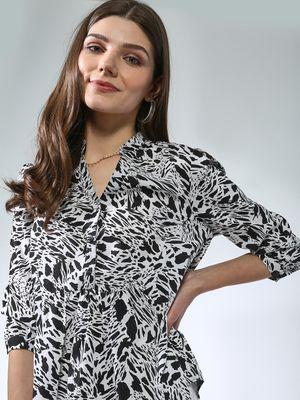 Oxolloxo Half-Placket Button Printed Top