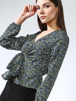 Oxolloxo Tie-Up Floral Print Blouse