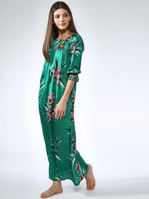 Oxolloxo Pleated Floral Print Nightwear Midi Dress