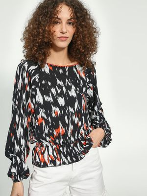 Oxolloxo Cinched Waist Graphic Print Blouse