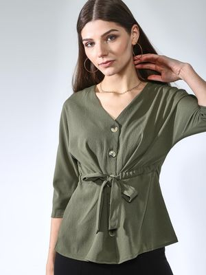Oxolloxo V-neck Button Detail Top