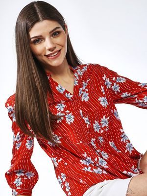 Oxolloxo Floral Pleated V neck Blouse