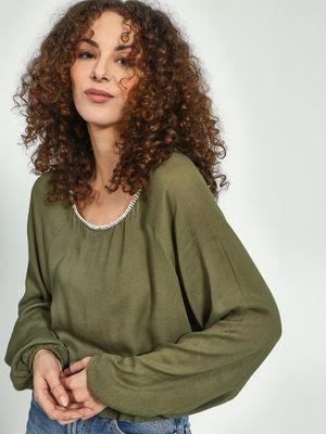 Oxolloxo Cinched Waist Boat Neck Blouse