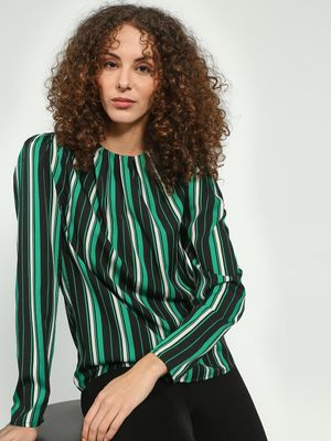 Oxolloxo Vertical Stripe Long Sleeve Blouse