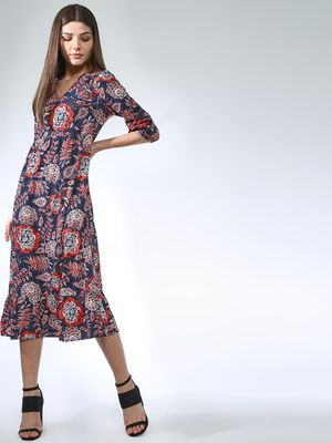 Oxolloxo Paisley Print V-neck Midi Dress