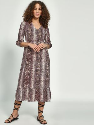 Oxolloxo Snake Printed Maxi Dress