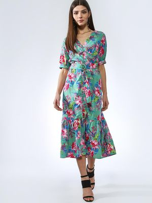 Oxolloxo Belted Floral Print Midi Dress