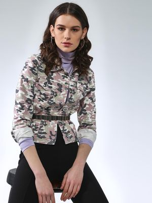 Blue Saint All Over Camo Print Crop Jacket
