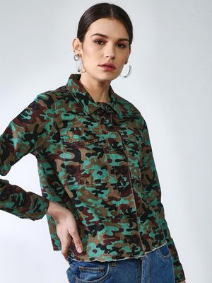 Blue Saint All Over Camo Print Jacket