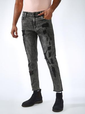 REALM Acid Wash Patch Skinny Jeans