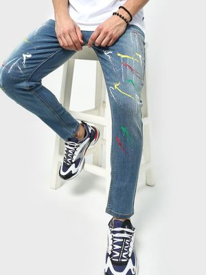 REALM Light Wash Paint Splatter Denim Jeans