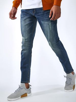 REALM Light Wash Ripped Slim Jeans