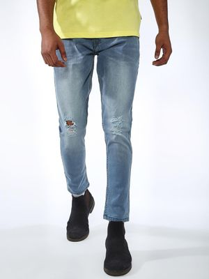 REALM Distressed Light-Wash Skinny Jeans