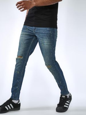 REALM Splatter Print Distressed Jeans