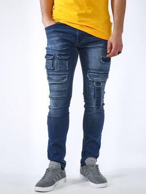 Blue Saint Light Wash Biker Panel Utility Slim Jeans