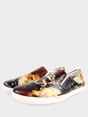 KOOVS Floral Print Slip-On Shoes