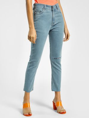 K Denim KOOVS Knee Ripped Light Wash Slim Jeans