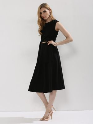 Origami Lily Midi Dress With Waist Cut Out And Bow Detailing