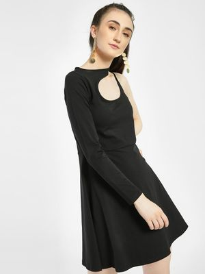KOOVS Asymmetric Cut-Out Skater Dress
