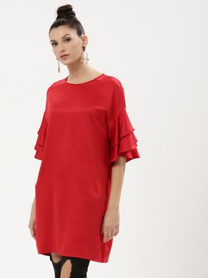 KOOVS Solid Ruffle Dress