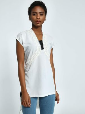Privy League Crochet Lace Extended Hem Top