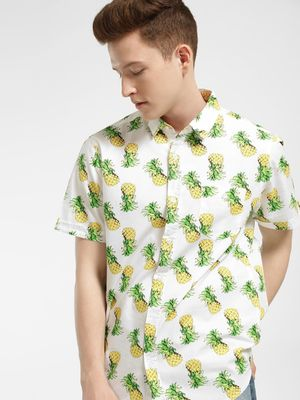 Brave Soul Pineapple Print Curved Hem Shirt
