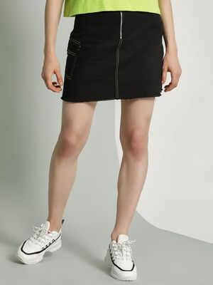 K Denim KOOVS Zip-Up Denim Mini Skirt