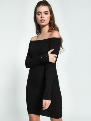 KOOVS Knitted Off-Shoulder Bodycon Dress