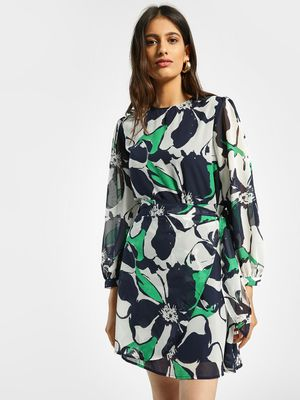 Femella Floral Print Belted Shift Dress