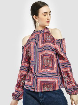 KOOVS Scarf Print Cold Shoulder Blouse