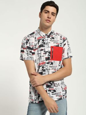 KOOVS Newspaper Print Contrast Pocket Shirt