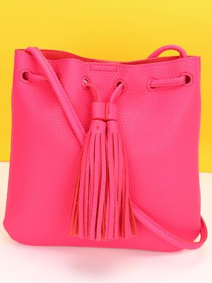 Red Cuckoo Tassel Trim Sling Bag