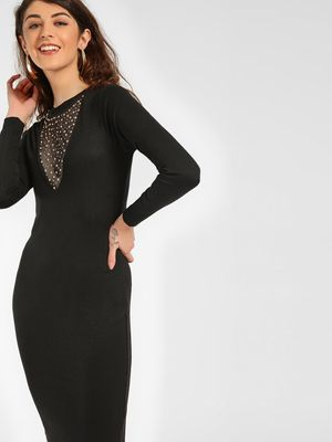 KOOVS Mesh Studded Neck Bodycon Dress