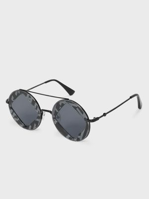 KOOVS Diagonal Cut-Out Tinted Round Sunglasses