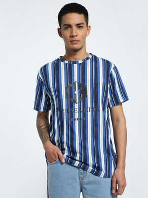 CHELSEA KING Vertical Stripe Text Print T-Shirt