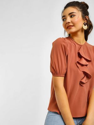 Cover Story Frilled Short Sleeves Top