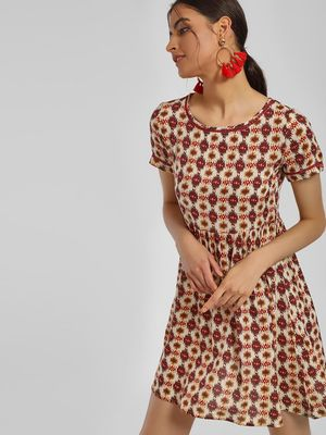 MIWAY Printed Lace Insert Skater Dress