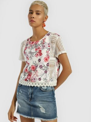 Privy League Floral Print Lace Detail Top