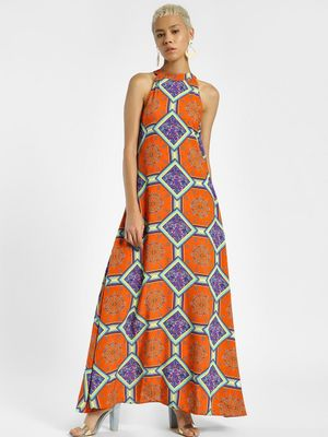 KOOVS Scarf Print Choker Neck Maxi Dress