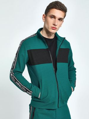 KOOVS Shoulder Text Tape Track Jacket