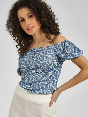 Cover Story Bardot Floral Print Top