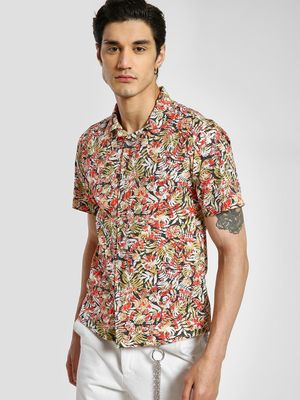 TRUE RUG Palm Print Cuban Collar Shirt