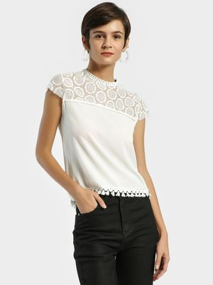 Privy League Floral Mesh Detail Blouse
