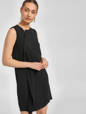 LC Waikiki Overlay Detail Zip-Up Shift Dress